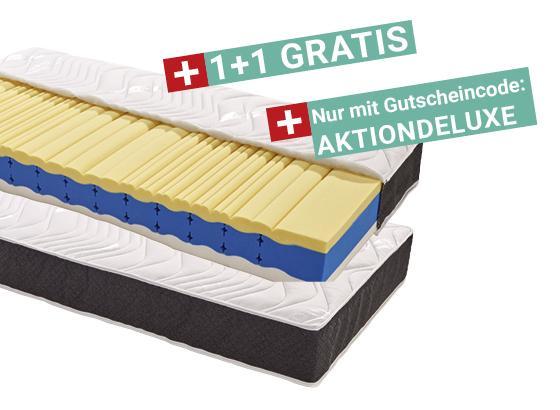 """1+1 GRATIS 7-Zonen-Viscomatratze """"Deluxe"""" (90x200cm, H2)"""
