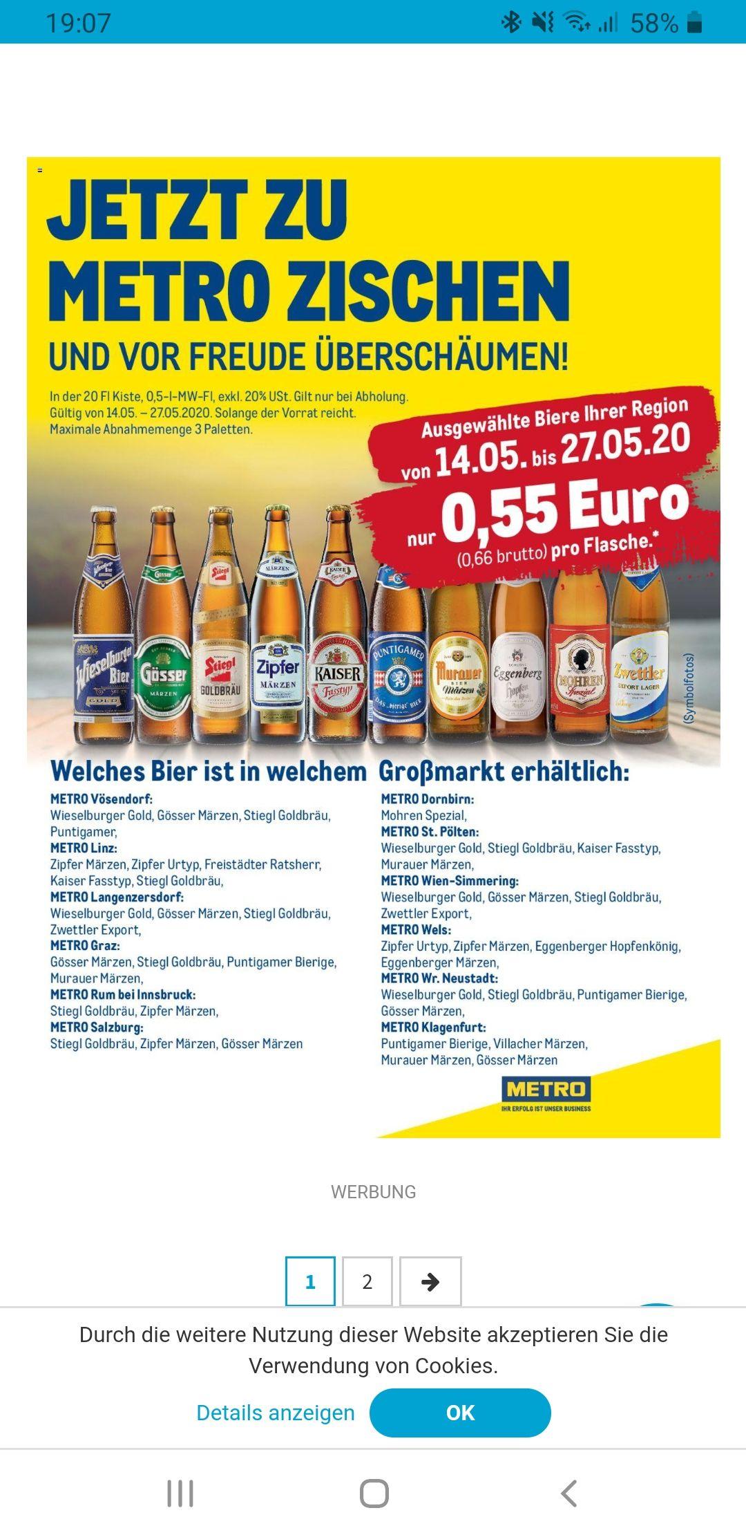 *Lokal bei Metro* Bier in Flaschen um 0,66€ bei Kistenkauf