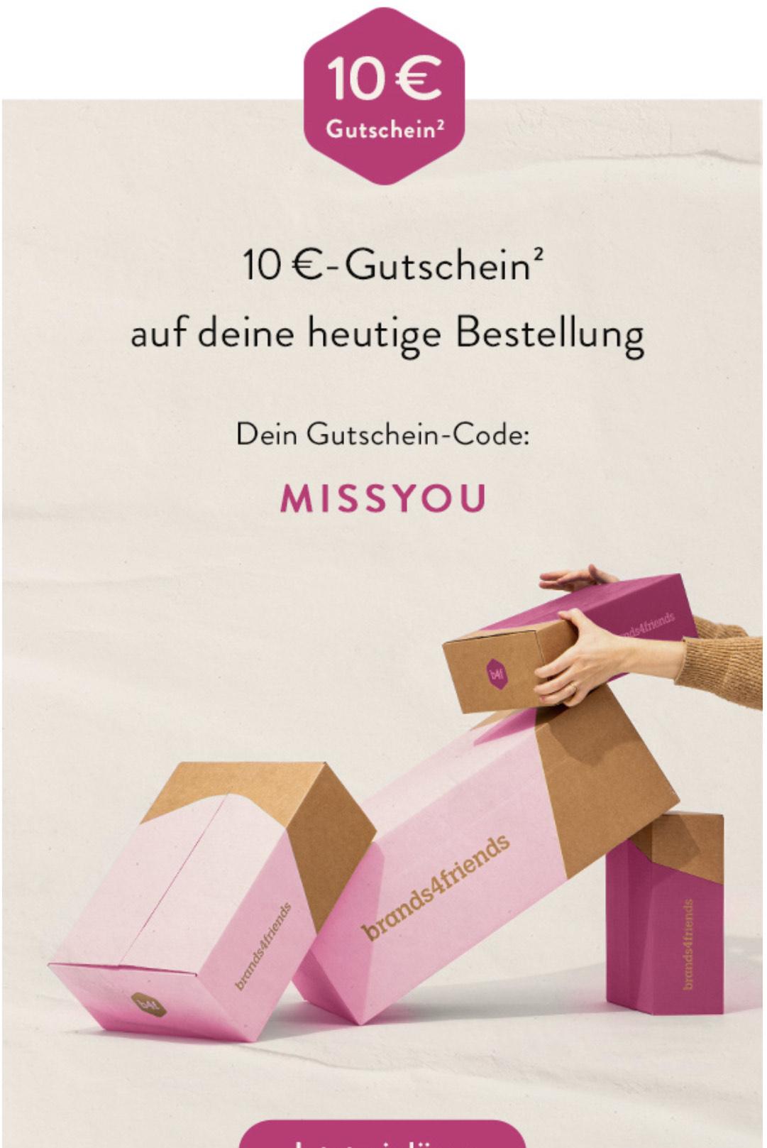 Brands4friends: 10€ Gutschein ab 50€ Bestellwert,nur heute