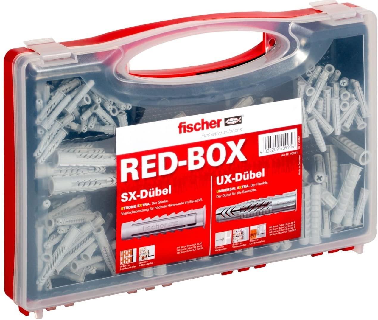 Fischer Sortimentsbox RED-Box mit Universaldübel UX und Spreizdübel SX