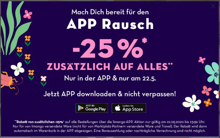 Limango 25% auf alles in der App (nur am 22.5.20)