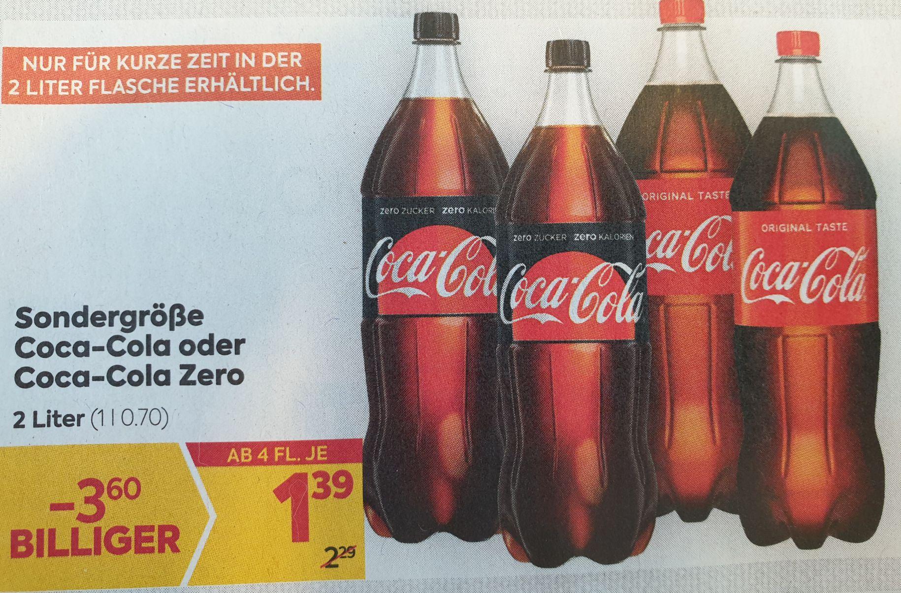 [Billa] 2l CocaCola normal oder Zero (ab 4 Flaschen = 79Cent/l)