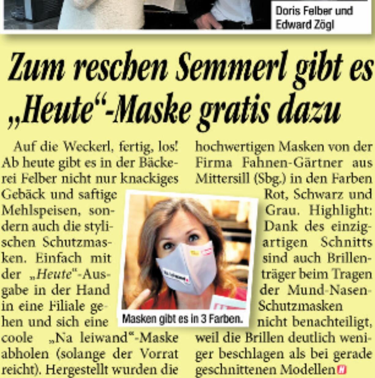 @Bäckerei Felber Wien GRATIS Stoffmasken rot/schwarz/grau auch für Brillenträger geeignet aus Österreich