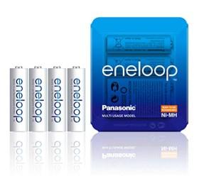 4x Panasonic AA eneloop, Ready-to-Use 1900mAh Ni-MH Akku im Storage Case