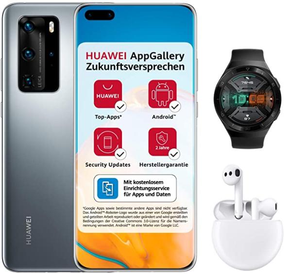 HUAWEI P40 Pro Dual-SIM Bundle (+ Huawei Watch GT 2e + FREE BUDS 3 + 5€ AmazonGutschein) 256GB