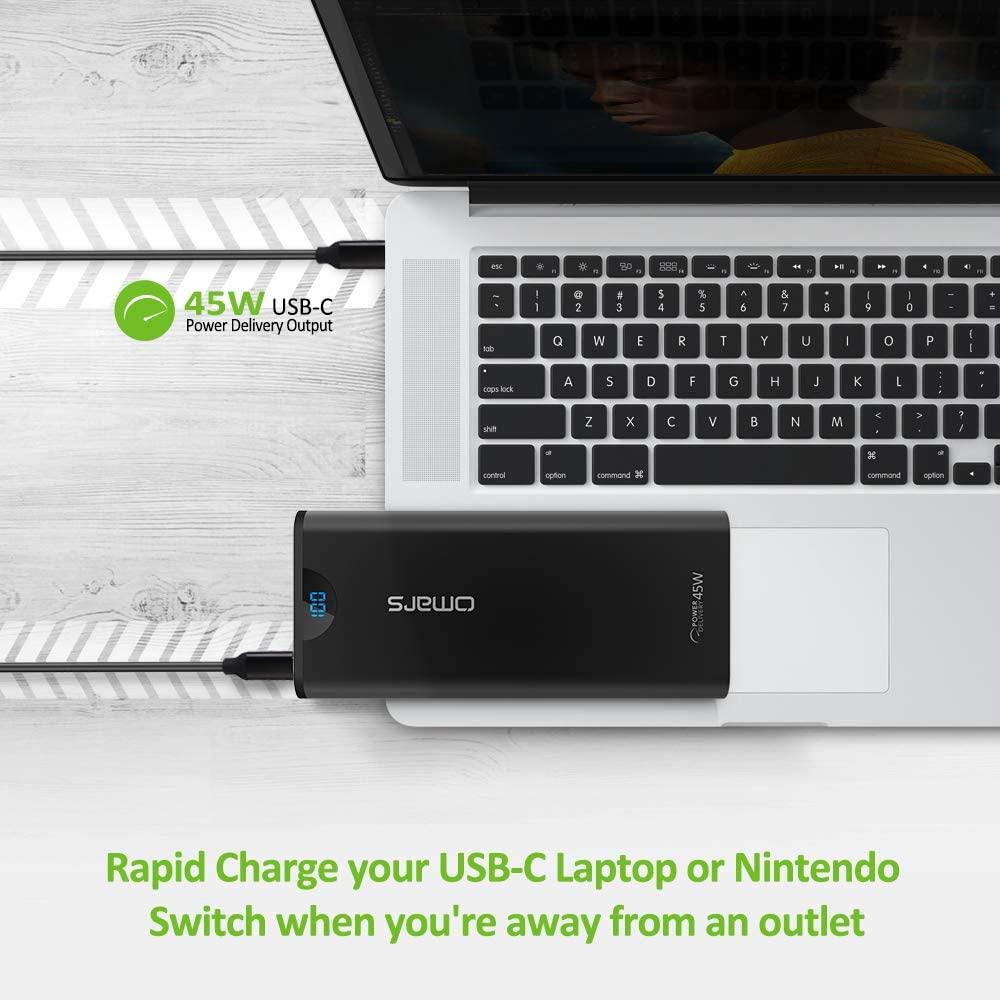 Powerbank 24000mAh, 2x USB + USB-C 45W PD Schnellladefunktion