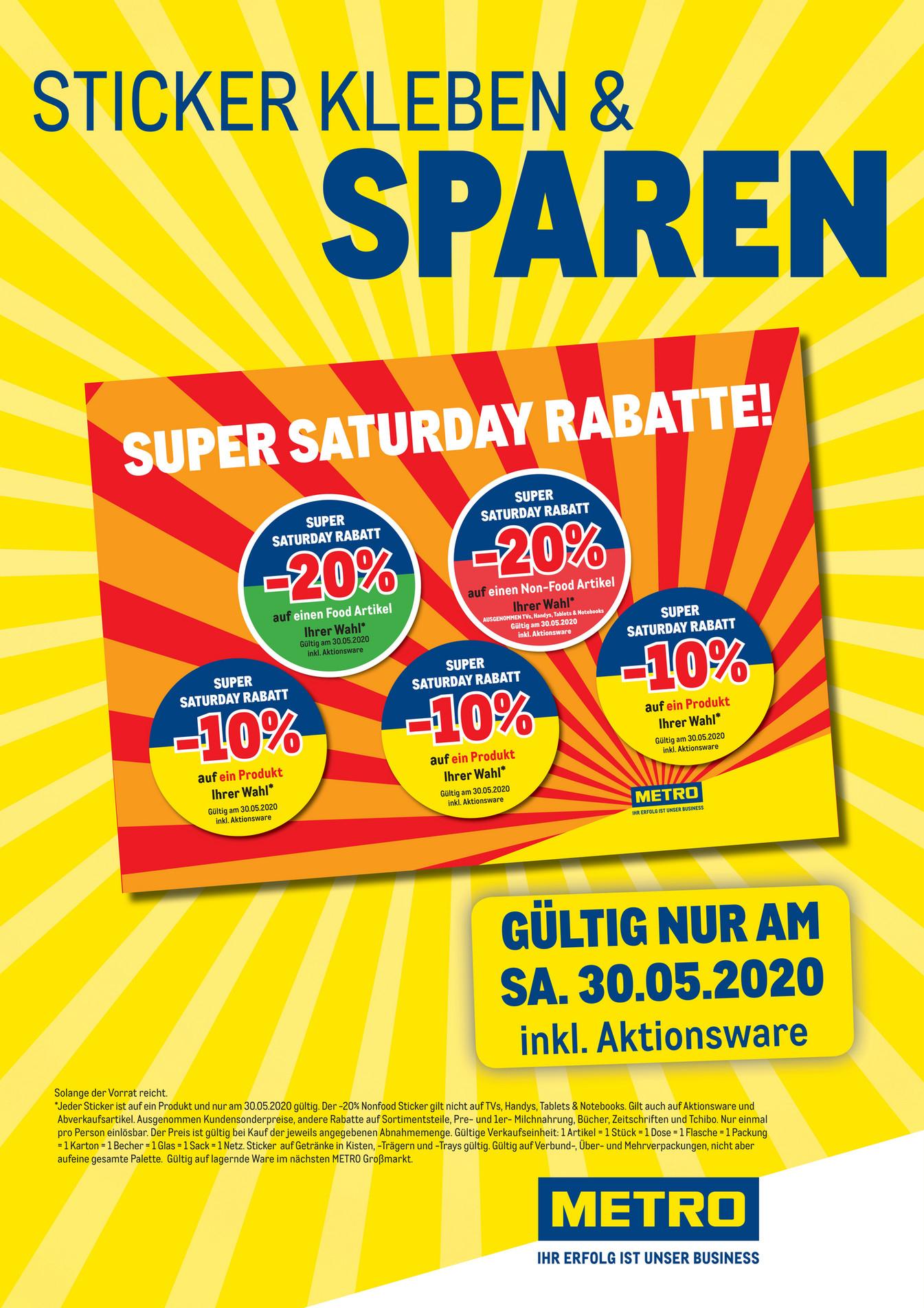 Super Saturday Rabatte am 30.Mai bei Metro