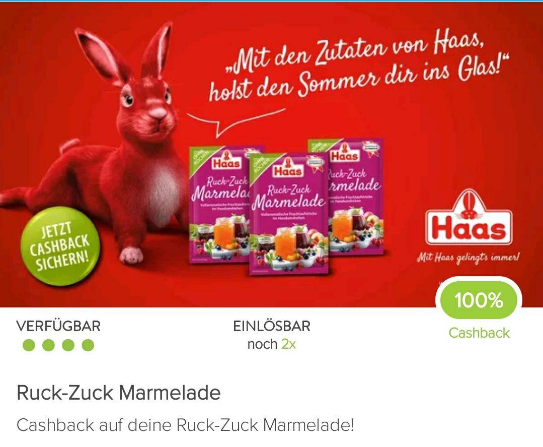 100% Cashback auf 2 Packungen Ruck Zuck Marmelade von Haas mit Marktguru