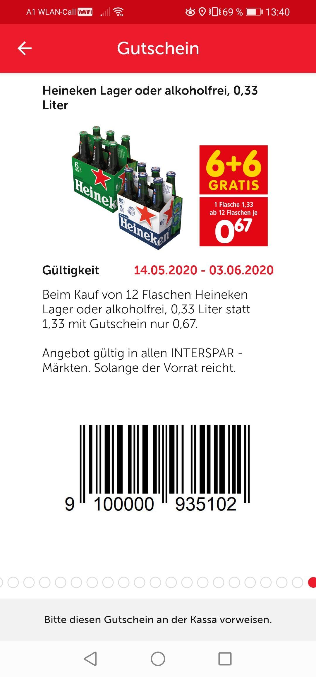 Heineken Lager oder Alkoholfrei 0.33l 6+6 Gratis (Interspar)