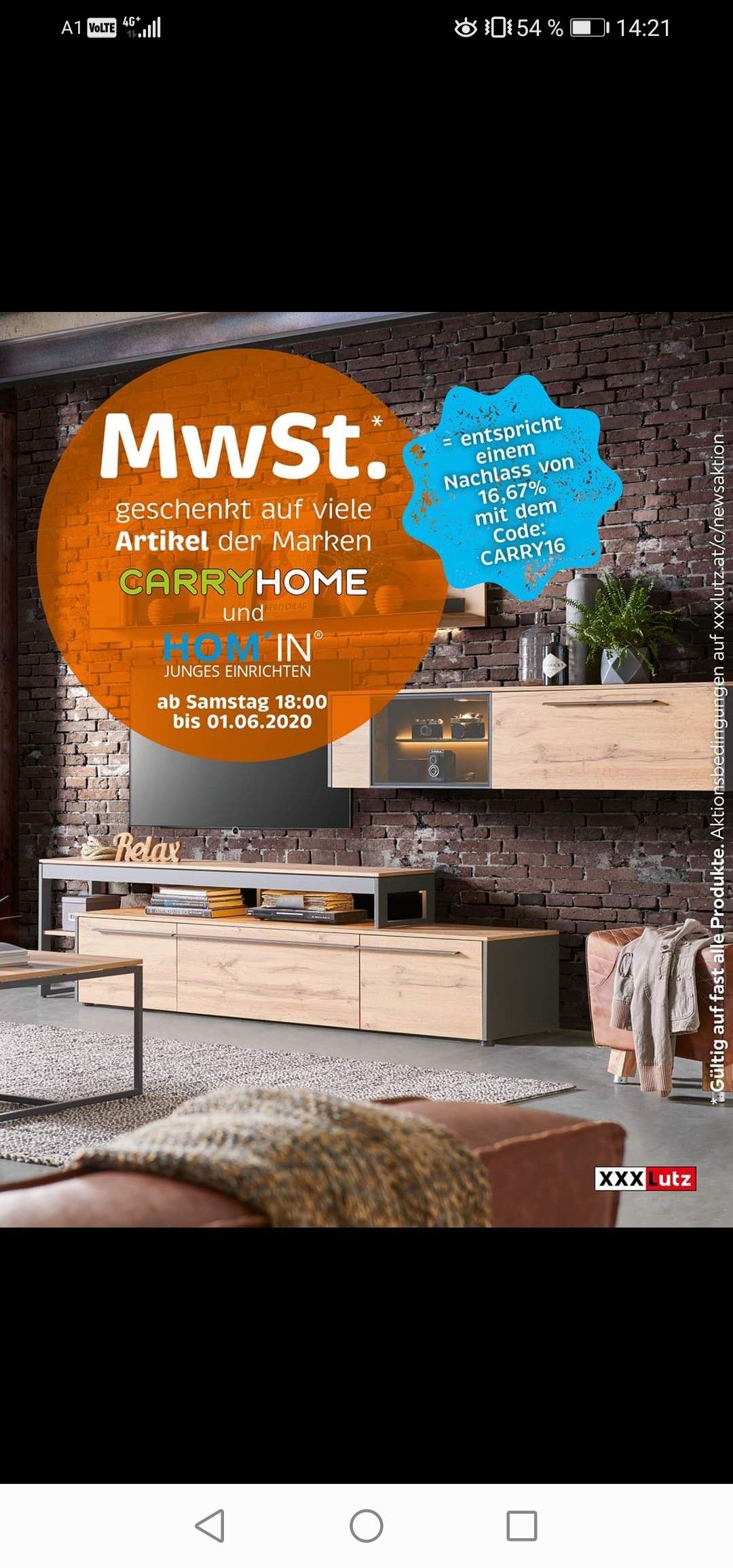 MwSt geschenkt auf viele Artikel der Marken Carry Home und Hom' in [XXXLutz]