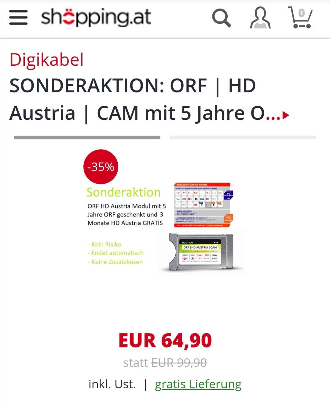 ORF Karte inklusive der Anmeldegebühr für 5 Jahre im Wert von 17,99€