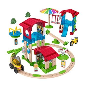 Fisher-Price GGV82 - Wunder Werker Holzspielzeug Schule mit Spielplatz