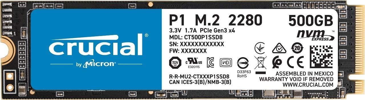 [Amazon] Crucial P1 CT500P1SSD8 500 GB M2 SSD um 59,50€ statt (76,80€)