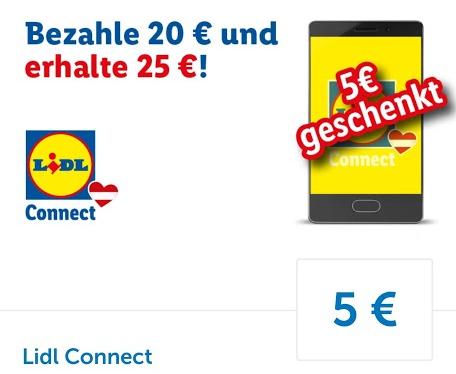 Lidl-Plus App: 5 € Ladeguthaben zusätzlich auf einen 20 € Ladebon für Lidl-Connect ab 02.06.2020