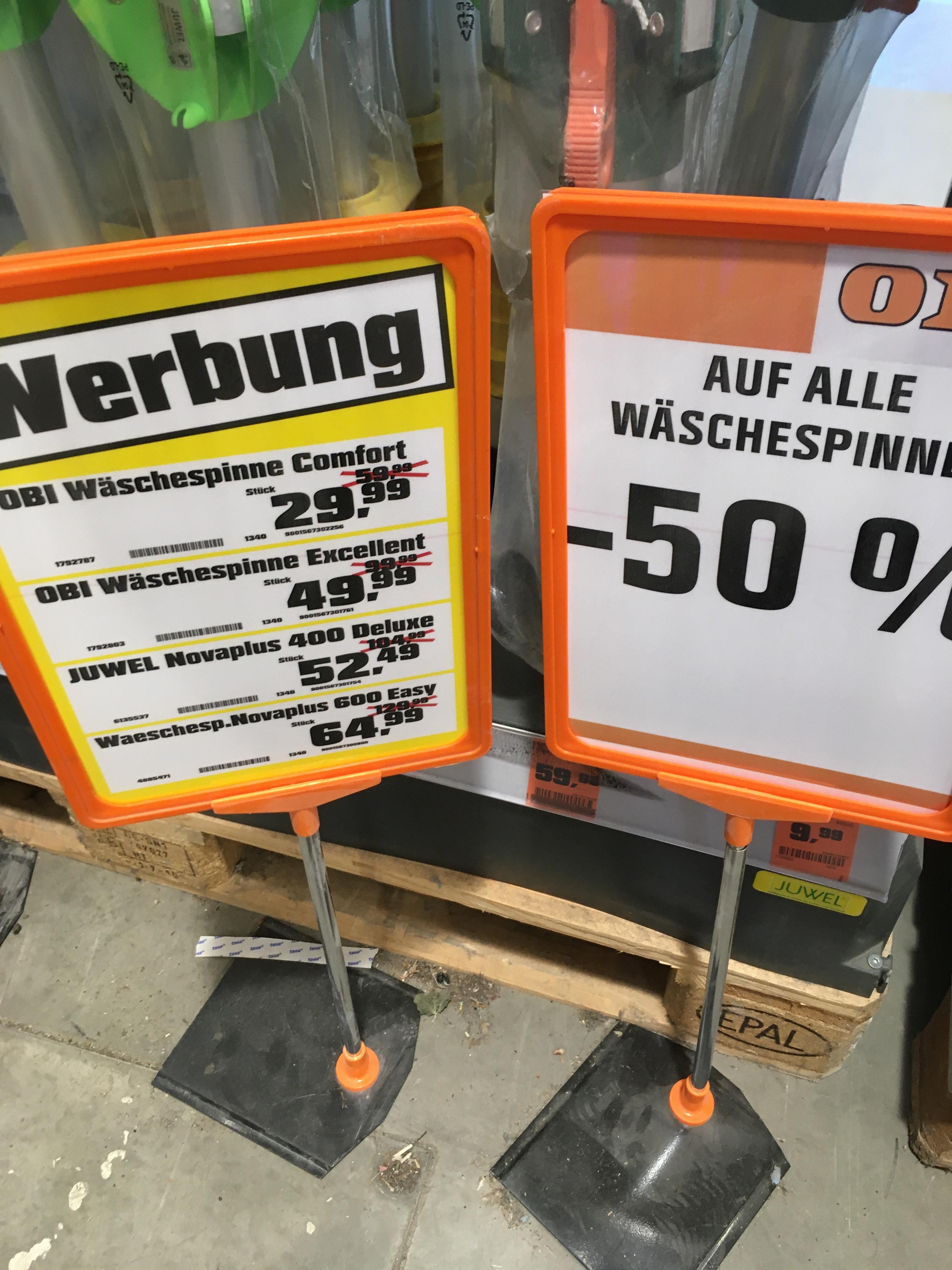 Wäschespinnen -50% bei OBI (vor Ort)
