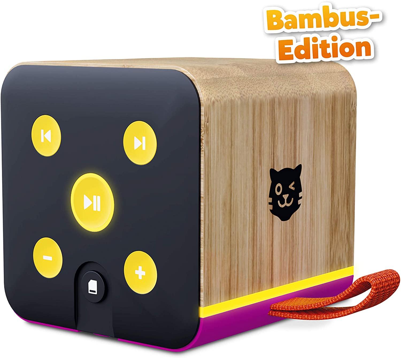 Lenco Tigerbox lila Bambus Edition, Bluetooth-Lautsprecher für Kinder