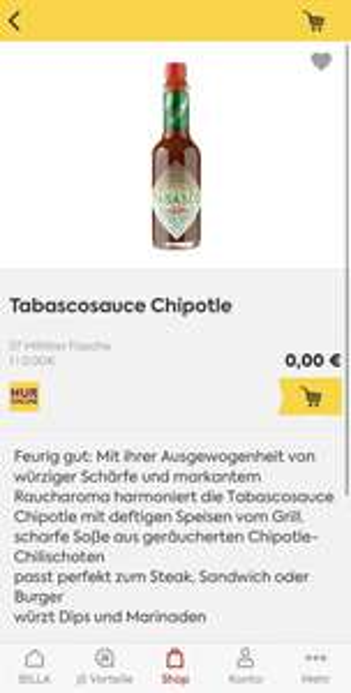 Tabascosauce Chipotle Preisfehler?! @BILLA Onlineshop