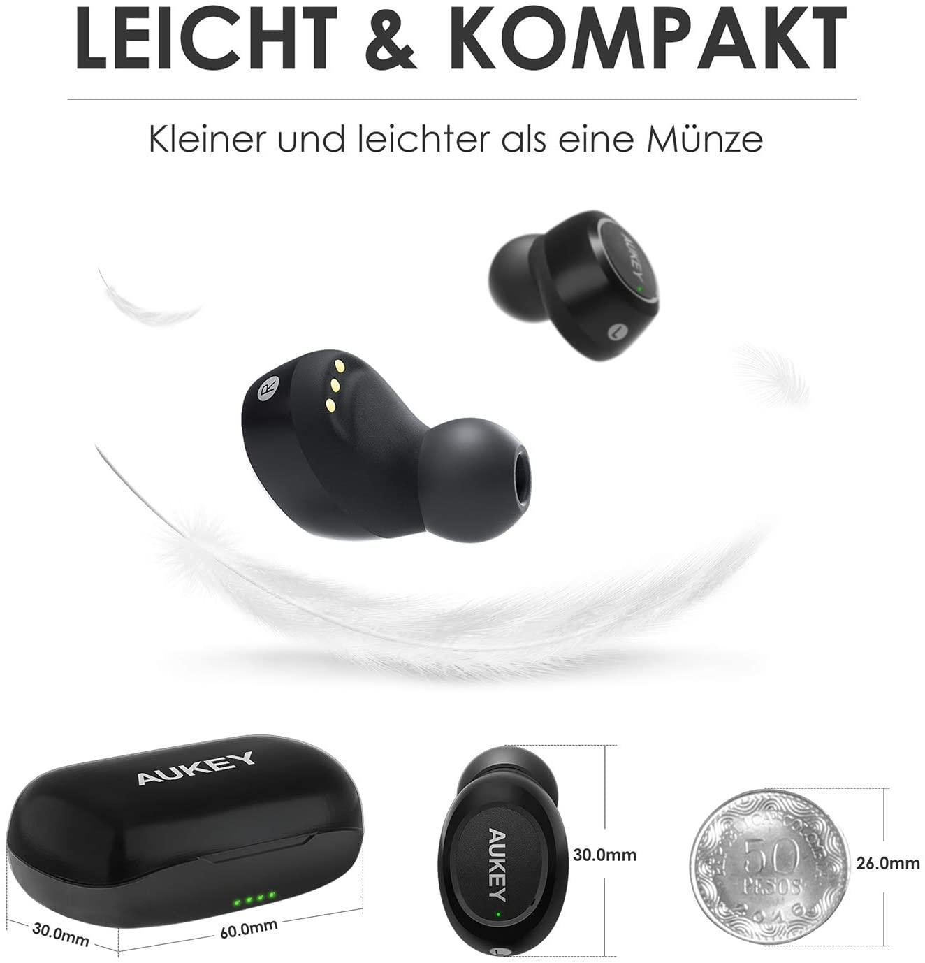 Aukey Bluetooth In Ear Kopfhöhrer, IPX5, Geräuschreduzierung mit Integriertem Mikrofon
