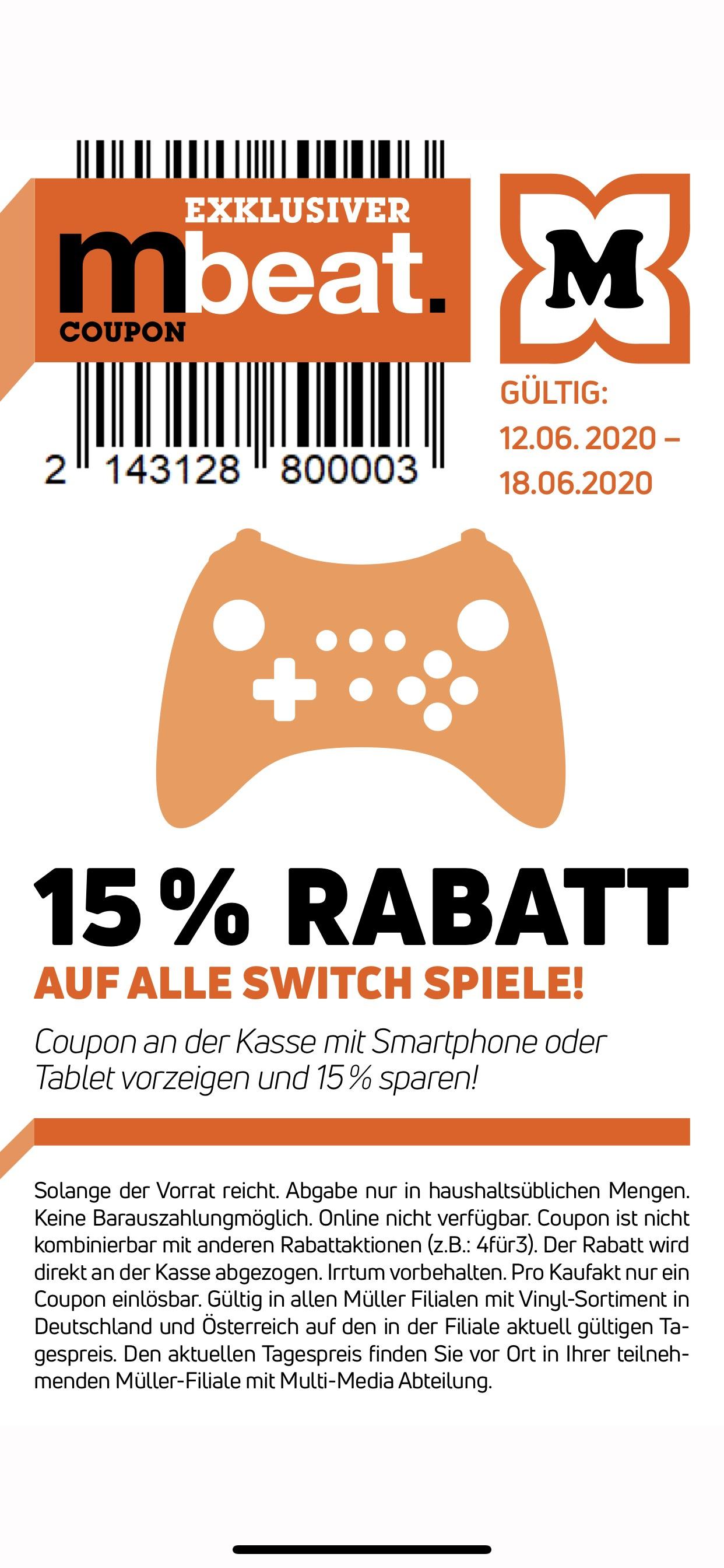15% auf Switch Spiele bei Müller