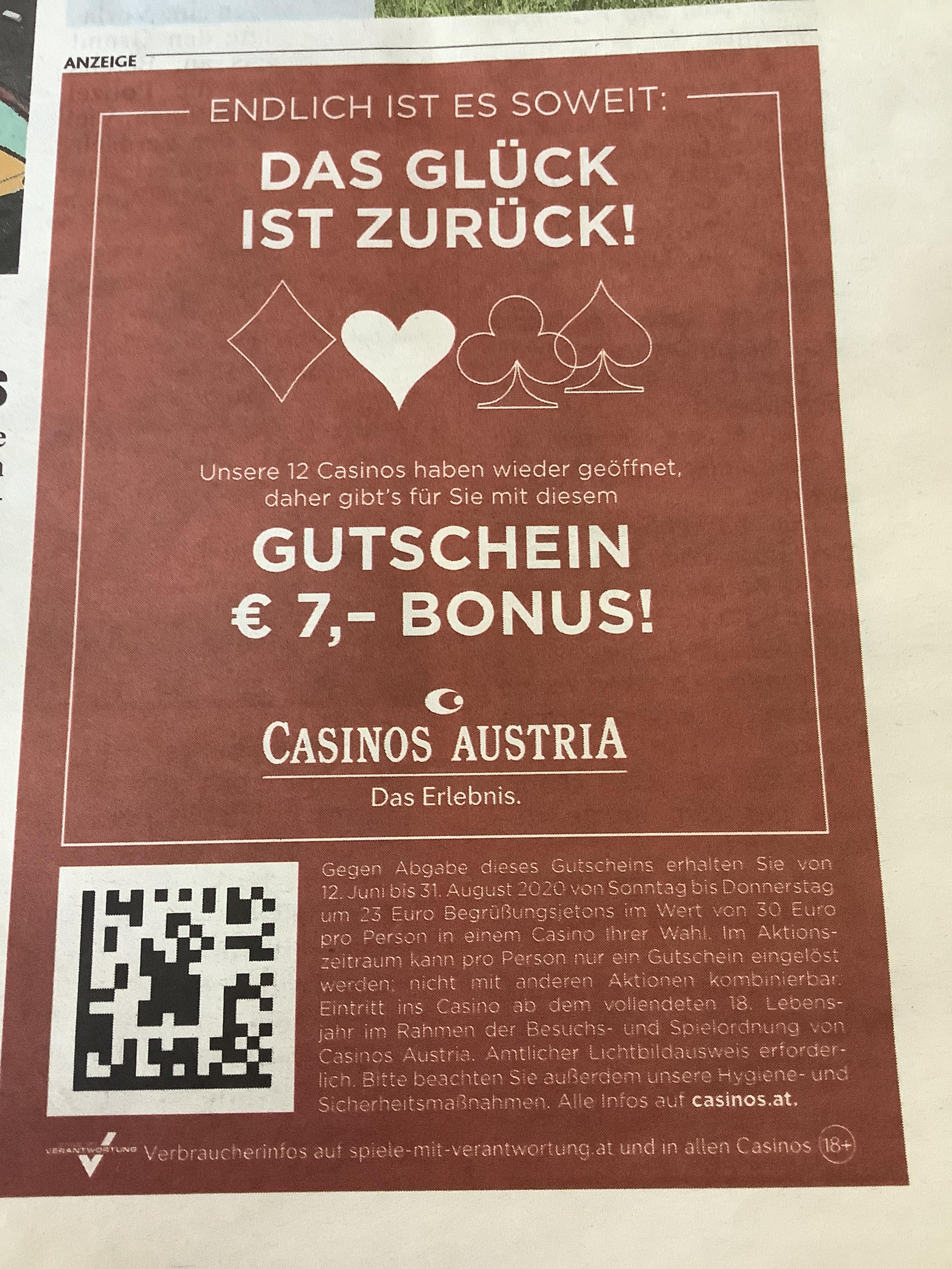 Casino Austria Gutschein € 7 in der heutigen Kronen Zeitung