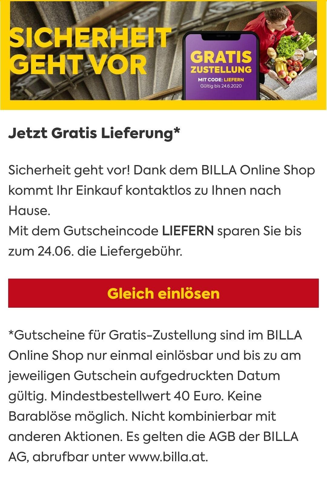 Billa Gratis Lieferung (€ 40 Mindestbestellwert)