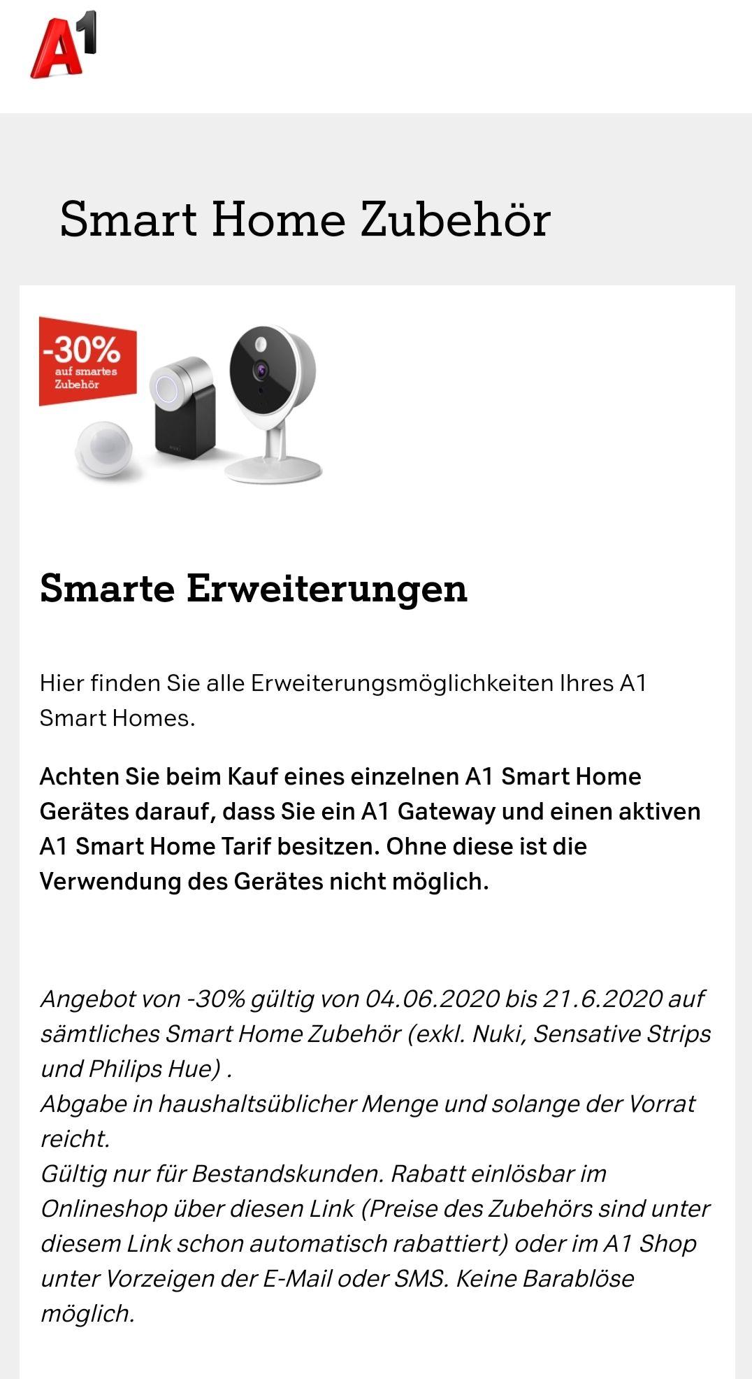 A1 Smart Home -30% auf Zubehör