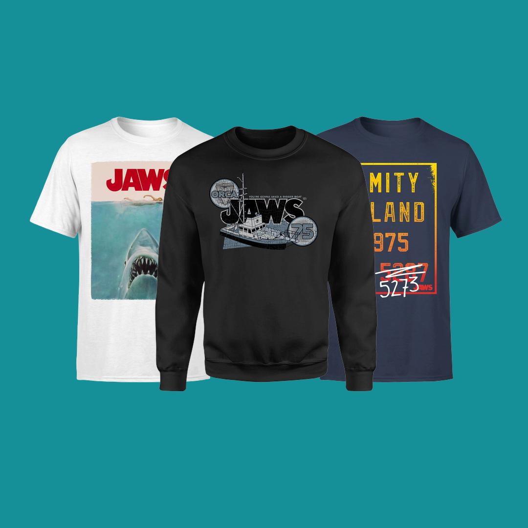 Offizielle Jaws T-Shirts (10,99€), Sweatshirts (16,99€) und Hoodies (21,99€)