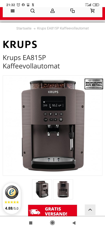 Krups EA815P Kaffee Vollautomat