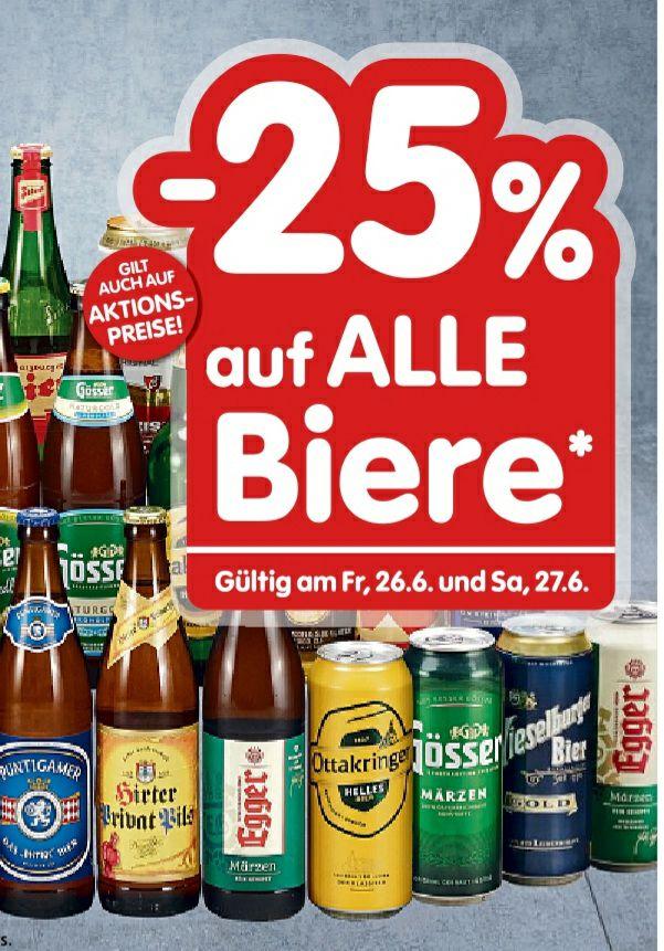 Bier -25% bei Spar, Eurospar, Interspar