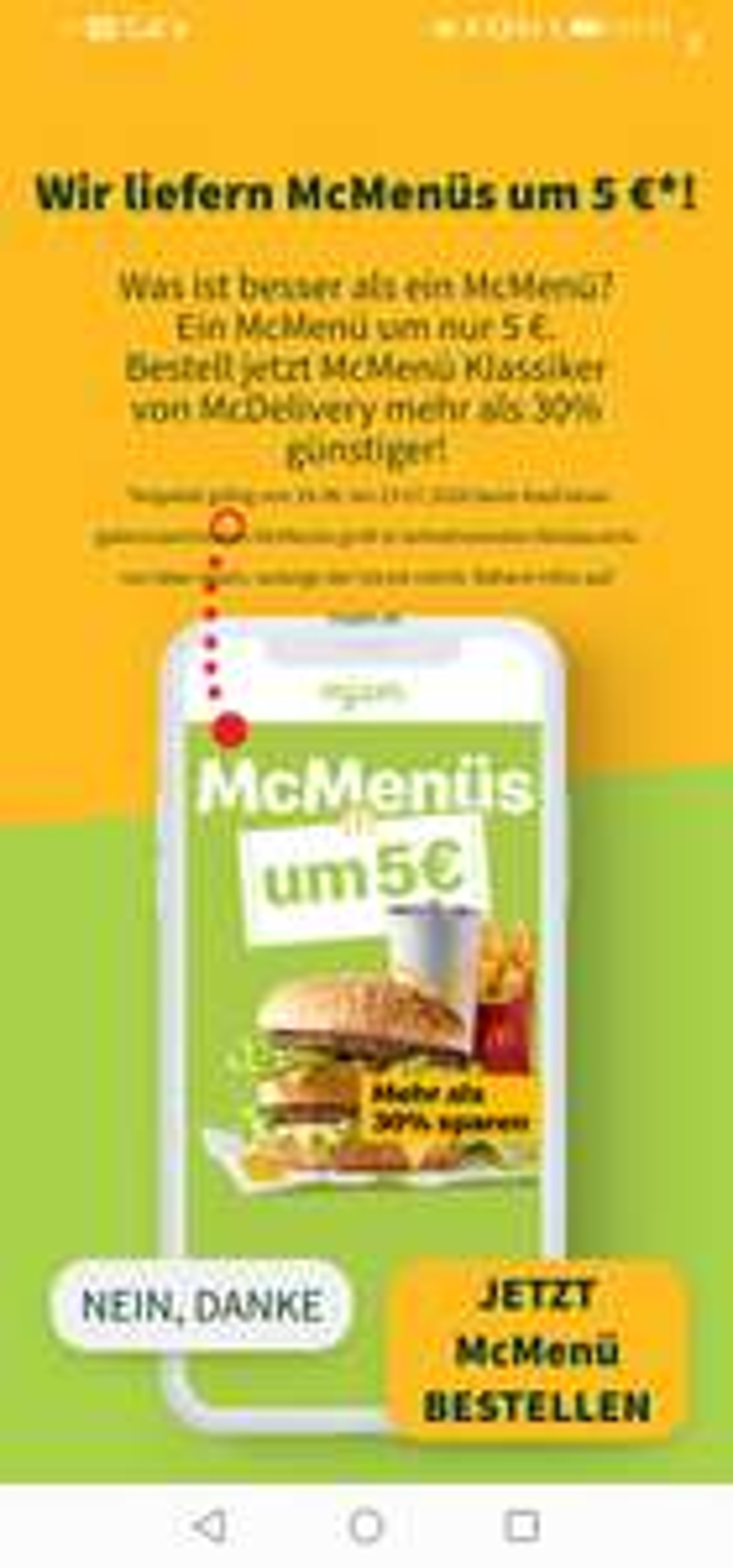 5€ Mcmenüs bei Mjam