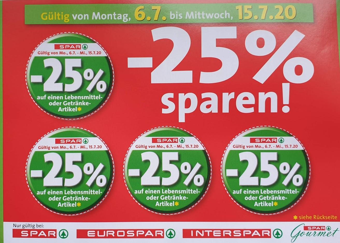 [Eurospar, Spar, Interspar] -25% Rabatt Sticker von 06.07 - 15.07.