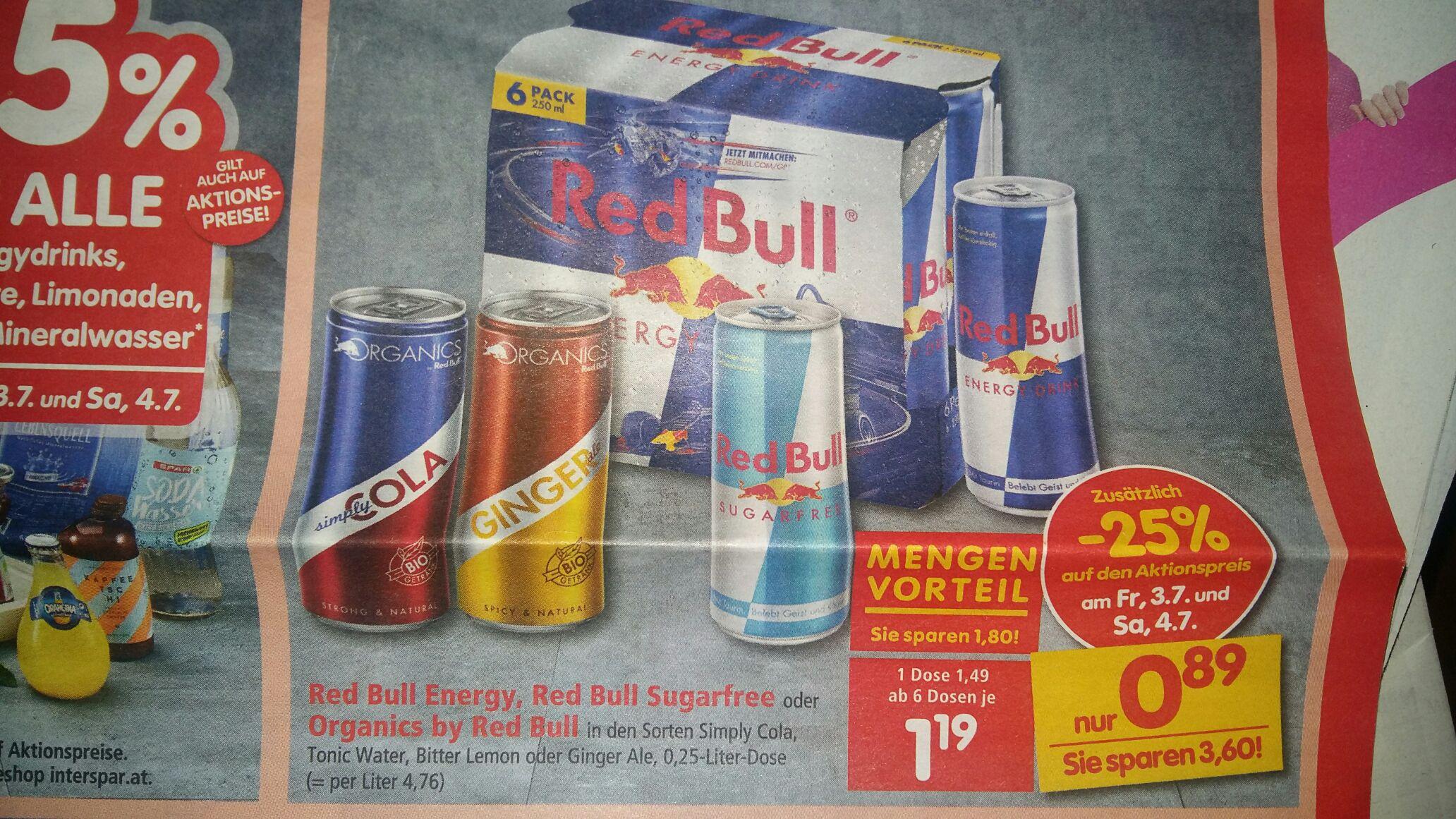 Interspar - 6 Dosen Red Bull, Sugarfree o. Organics