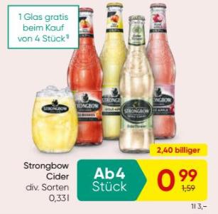 Merkur: 1 gratis Glas ab Kauf von 4 Flaschen Strongbow Cider