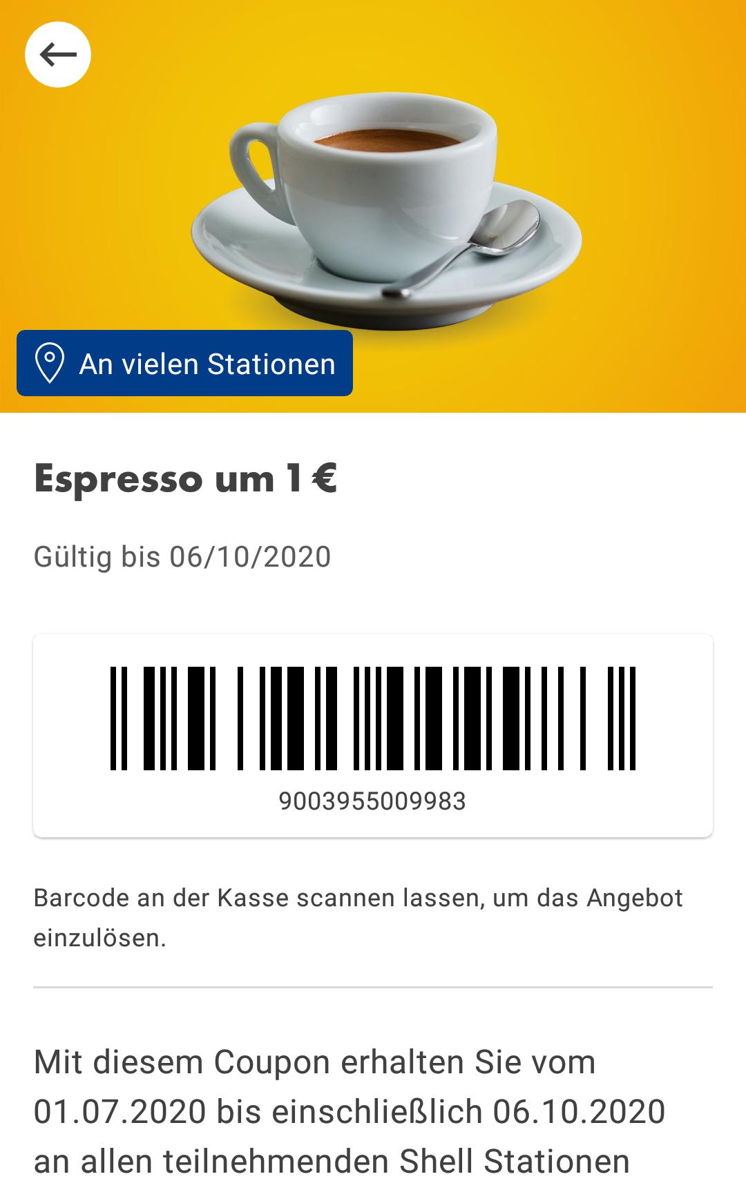 Espresso um 1€ bei Shell
