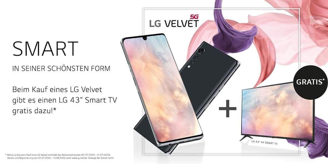 """LG 43"""" Smart TV gratis zu jedem LG Velvet"""