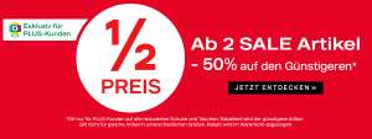 -50% Rabatt auf den günstigeren von 2 Sale-Artikeln für Deichmann Plus Kunden