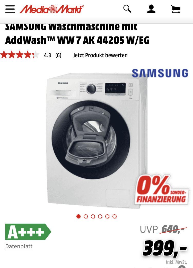 SAMSUNG Waschmaschine mit AddWash™ WW 7 AK 44205 W/EG