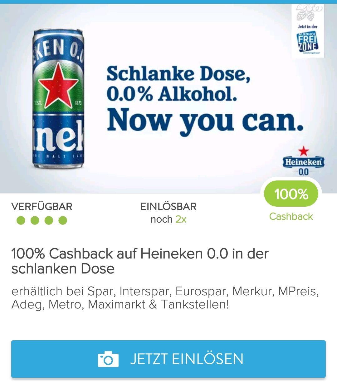 Marktguru: 100 % Cashback auf 2 Dosen Heineken 0.0 (alkoholfrei)