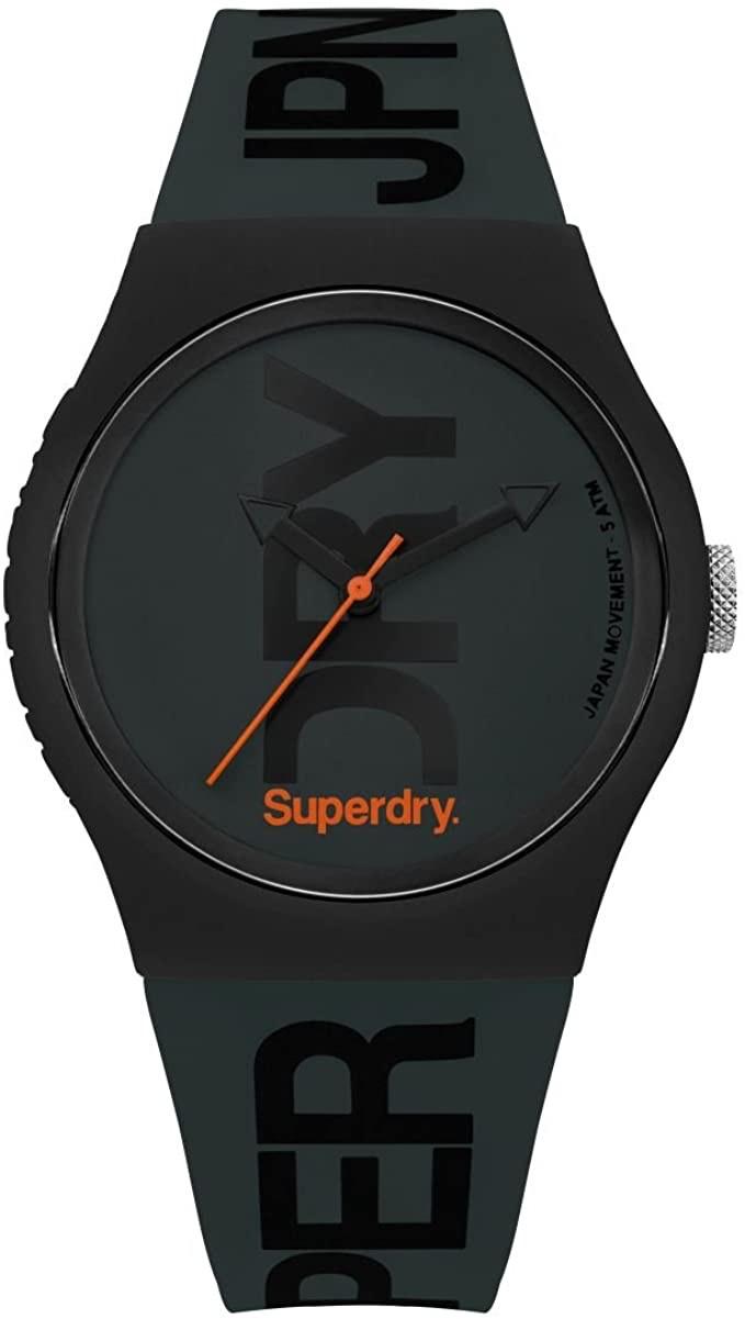 Superdry Herren Analog Quarz Uhr mit Silikon Armband