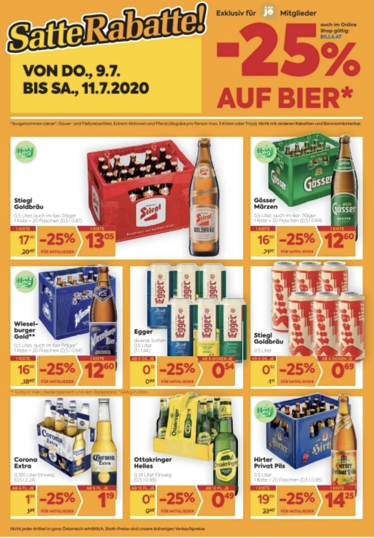 Zusätzlich -25% auf Bier bei Billa