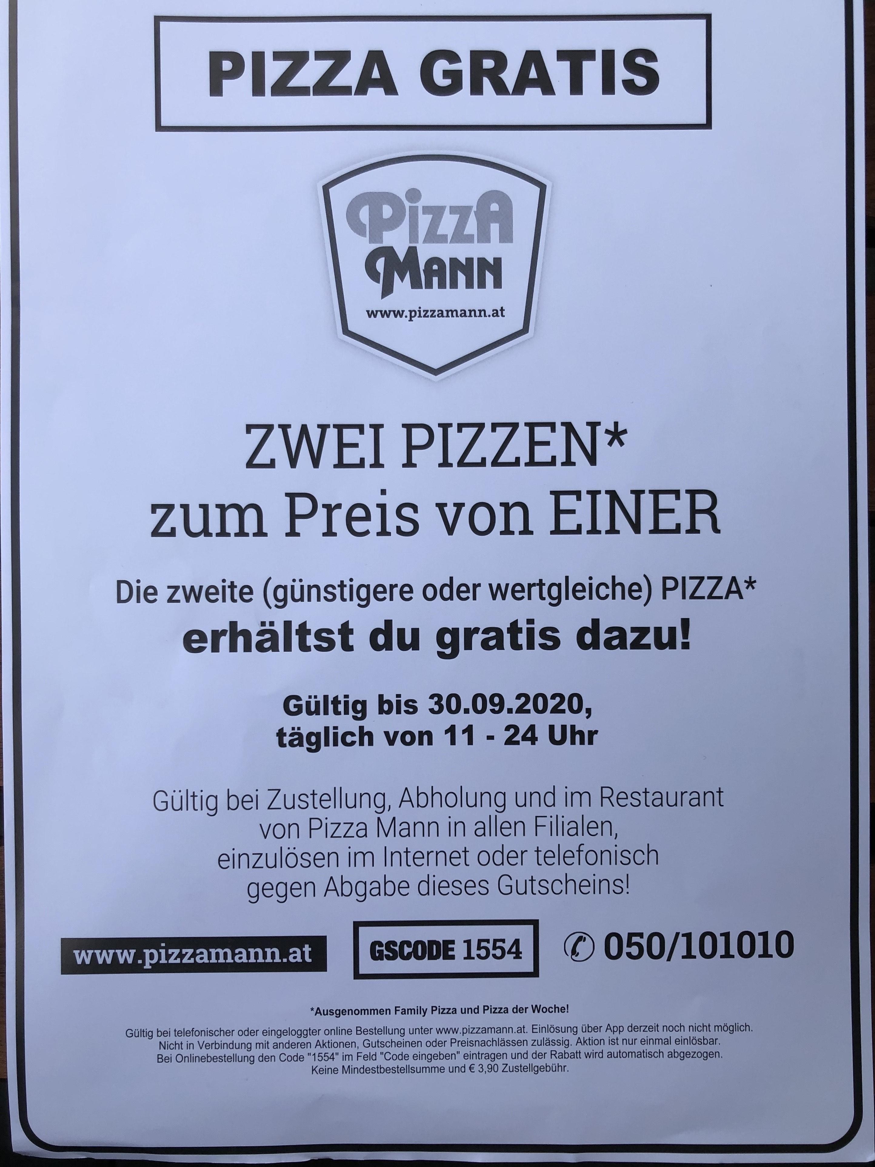 Pizza Mann 1+1 gratis