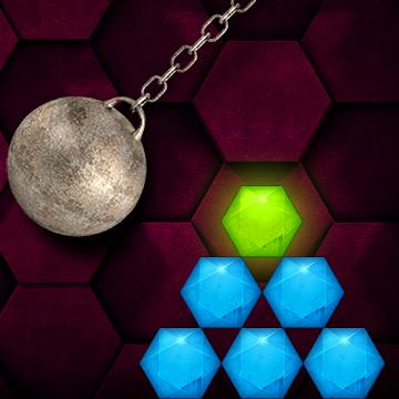 HEXASMASH • Wrecking Ball Physics Puzzle (Android) gratis im Google PlayStore ohne Werbung oder InApp Käufe
