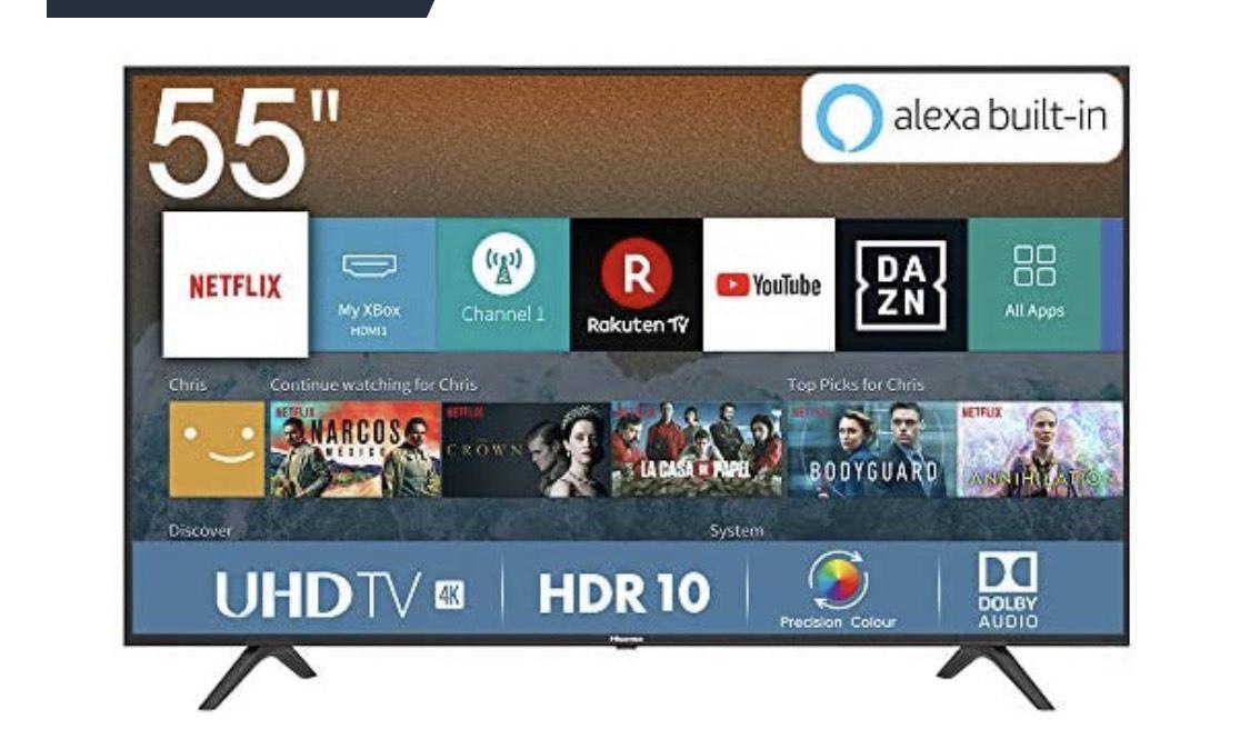 Hisense H55BE7000 138 cm (55 Zoll) Fernseher (4K Ultra HD, HDR, Triple Tuner, Smart-TV, )