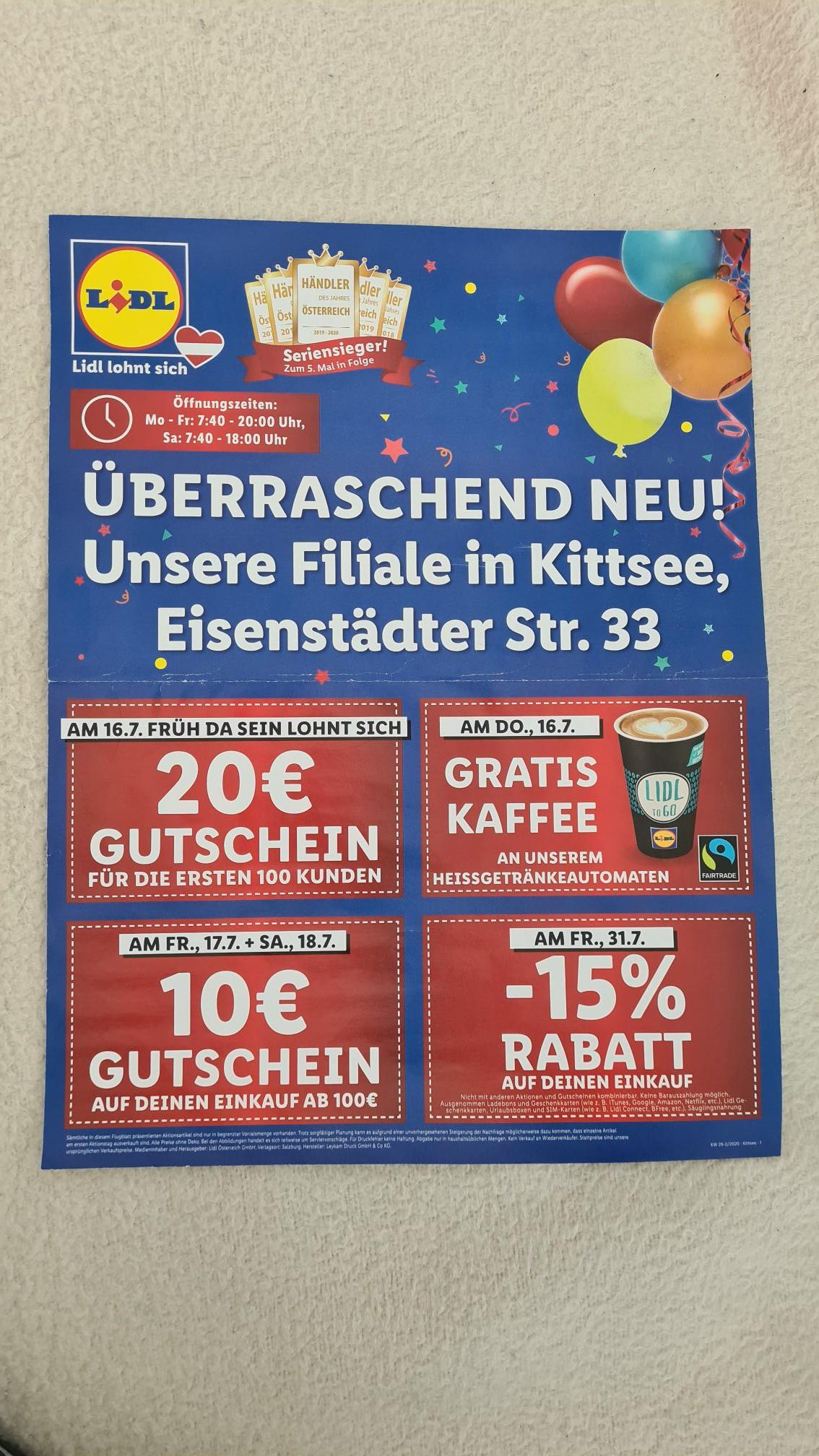 Lidl in Mödling / Graz (Koßgasse) / Kittsee / Götzis: 15% Rabatt am 31.7.