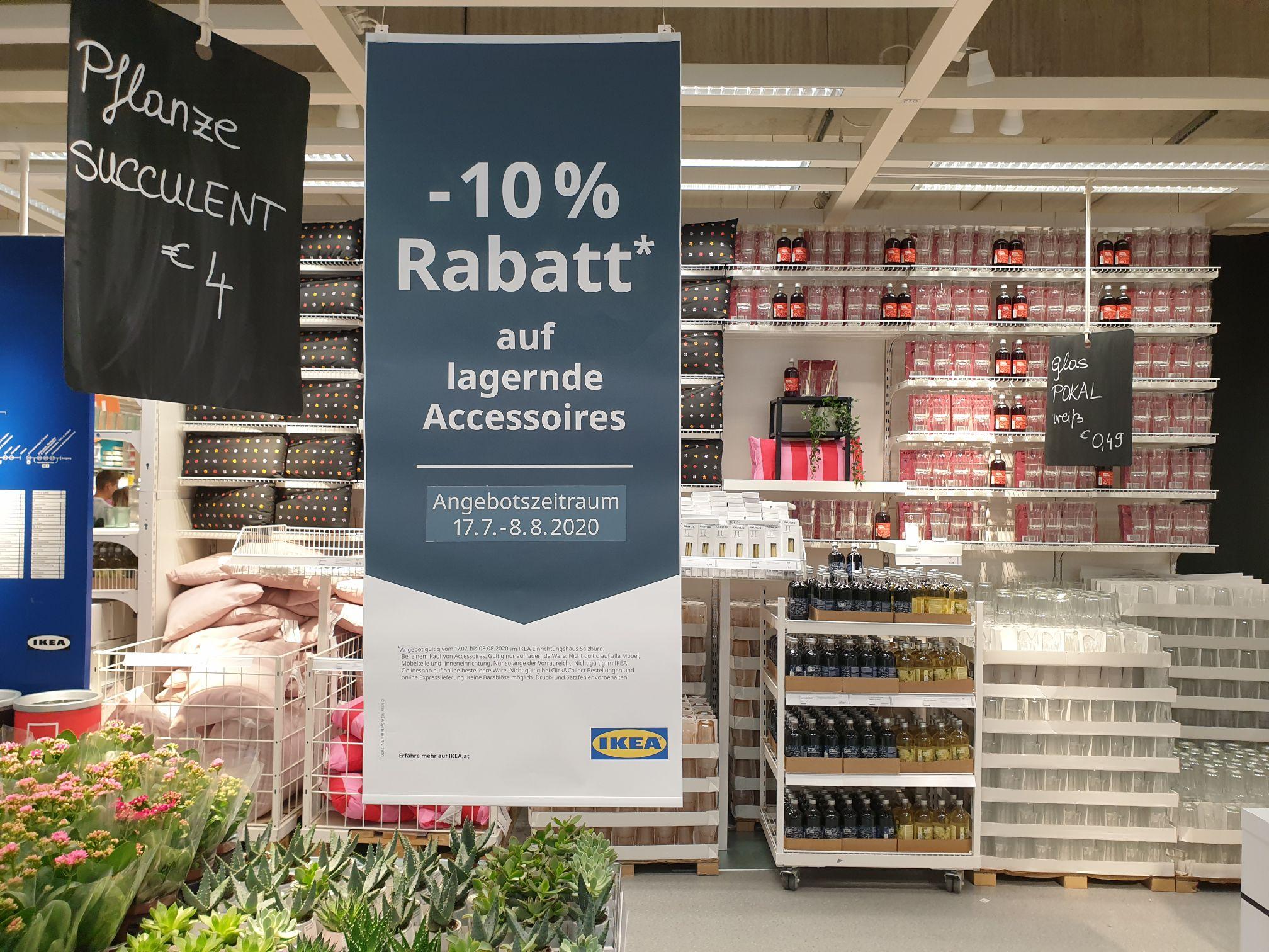 Minus 10% auf lagernde Accessiors bei IKEA Salzburg