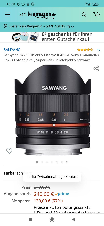Samyang 8/2,8 Objektiv Fisheye II APS-C Sony E manueller Fokus Fotoobjektiv, Superweitwinkelobjektiv schwarz