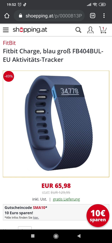 Fitbit Charge, blau groß FB404BUL-EU Aktivitäts-Tracker