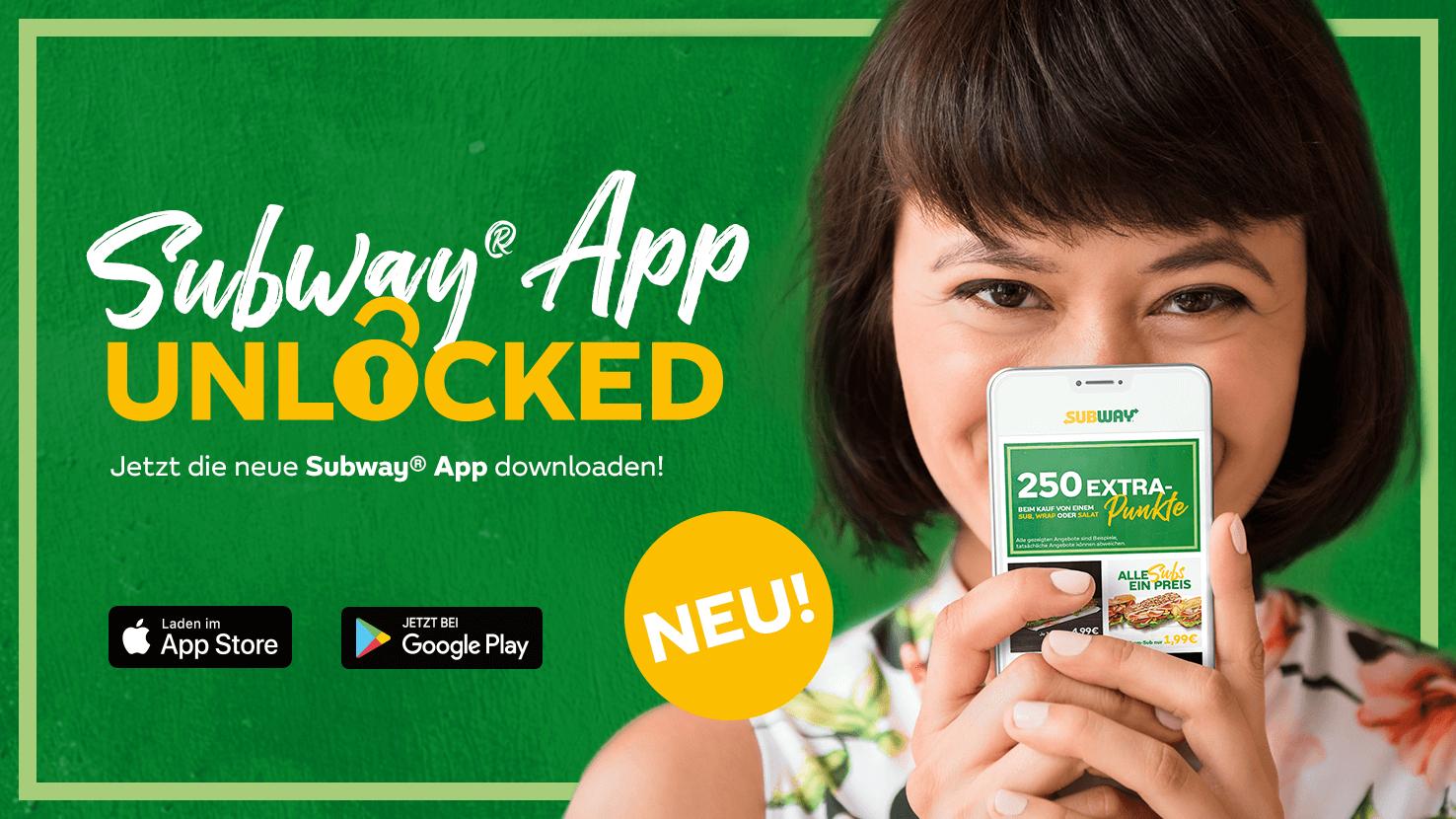 Subway Gutscheine in der neuen Subway App z.B. beliebiges 15cm Sub für 1,99€