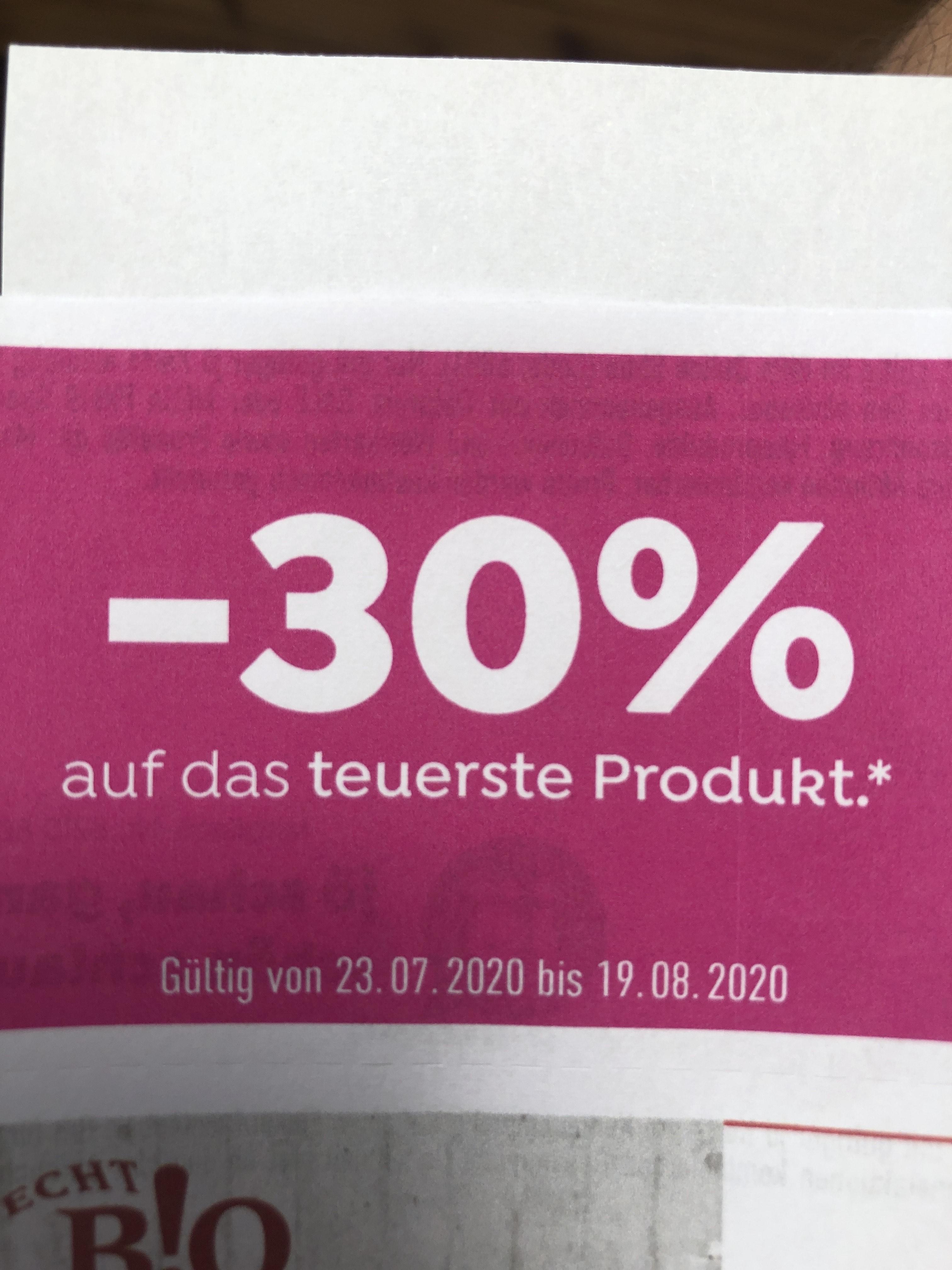 -30% auf das teuerste produkt