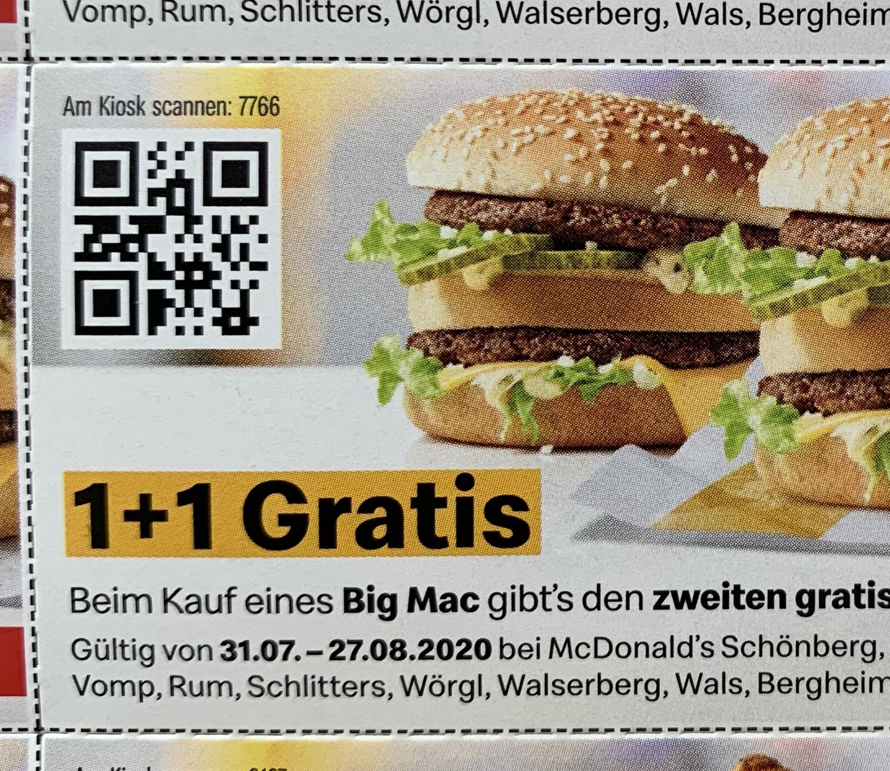 McDonald's (lokal in SBG und T): Gutscheine (zB Big Mac 1+1 gratis)